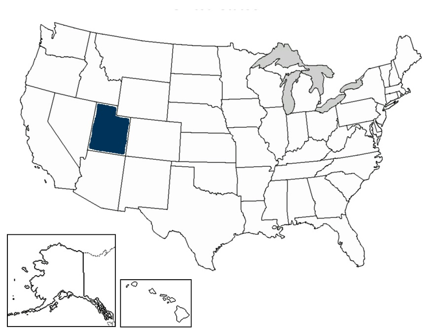 map of US with UT shaded in